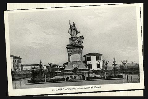Foto storica del Monumento ai caduti di San Carlo a Ferrara